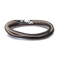 This is an image of the product Leather Bracelet Brown/Light Grey with Sterling Silver Plain Lock