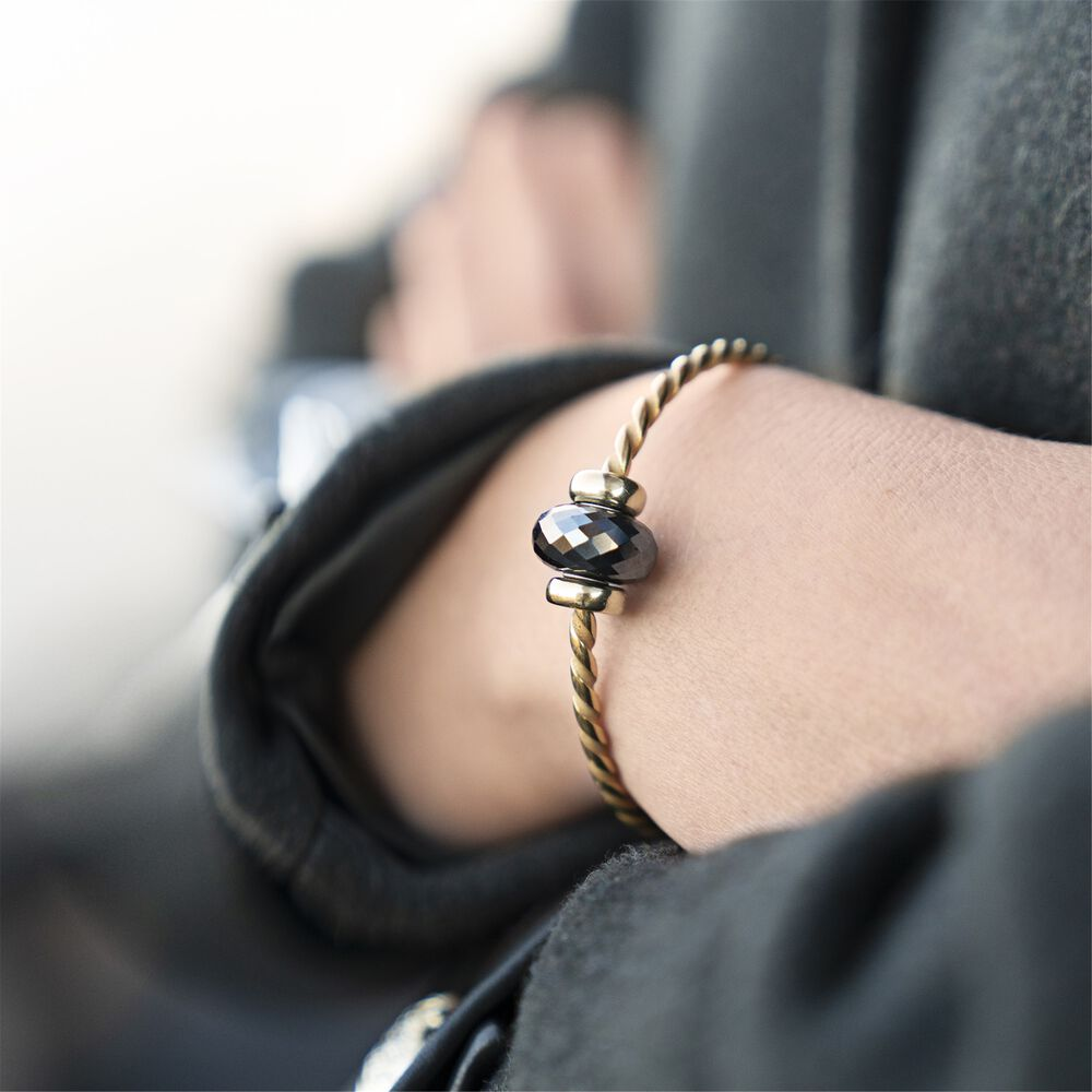 Twisted Gold Bangle with Steel Hematite