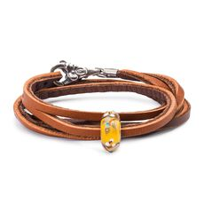 Summer Flowers Leather Bracelet, Light/Dark Brown
