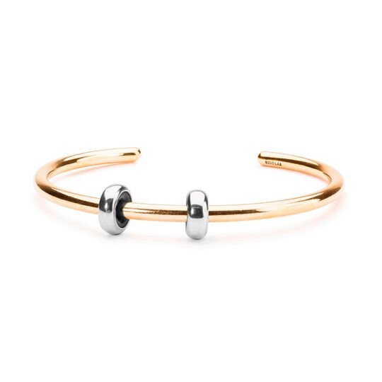 Gold Plated Bangle with 2 x Silver Spacers