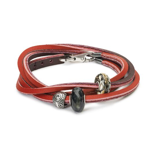 Leather Bracelet Red Bordeaux With Gemstones And Sterling Silver Beads