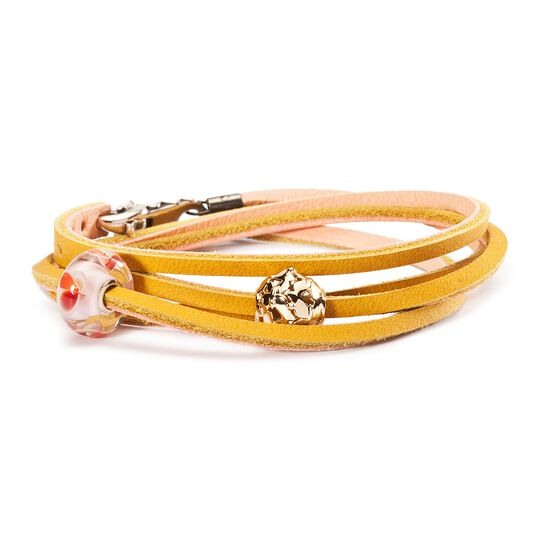 Leather Bracelet Yellow/Light Pink