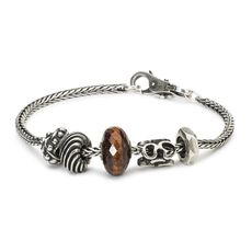 Sterling Silver Bracelet with Red Tiger Eye and Silver Beads