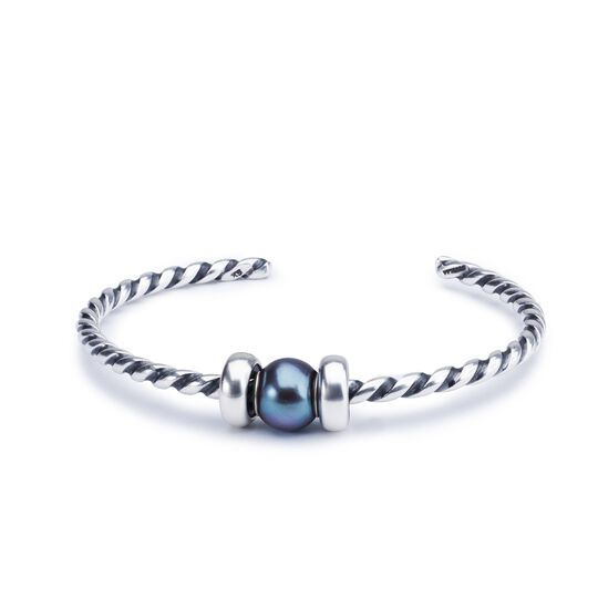 Peacock Pearl Twisted Silver Bangle