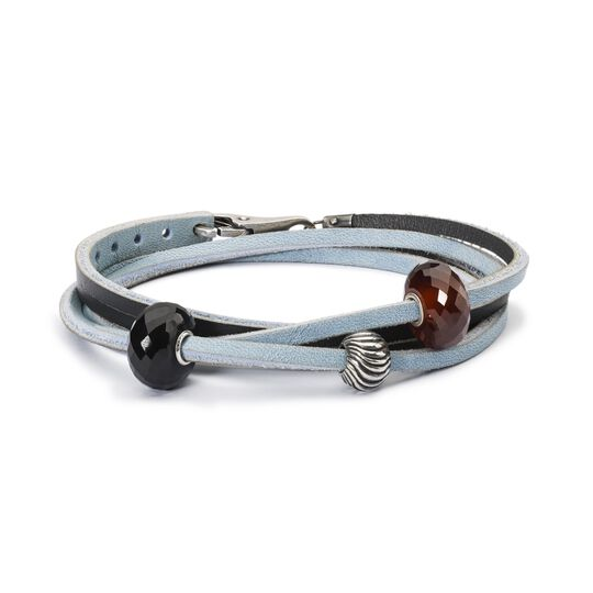 Leather Bracelet Light Blue/Dark Grey