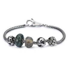 This is an image of the product Sterling Silver Bracelet with Gemstones, Glass and Sterling Silver Beads