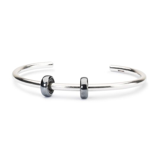 Sterling Silver Bangle with 2 x Oxidized Spacers