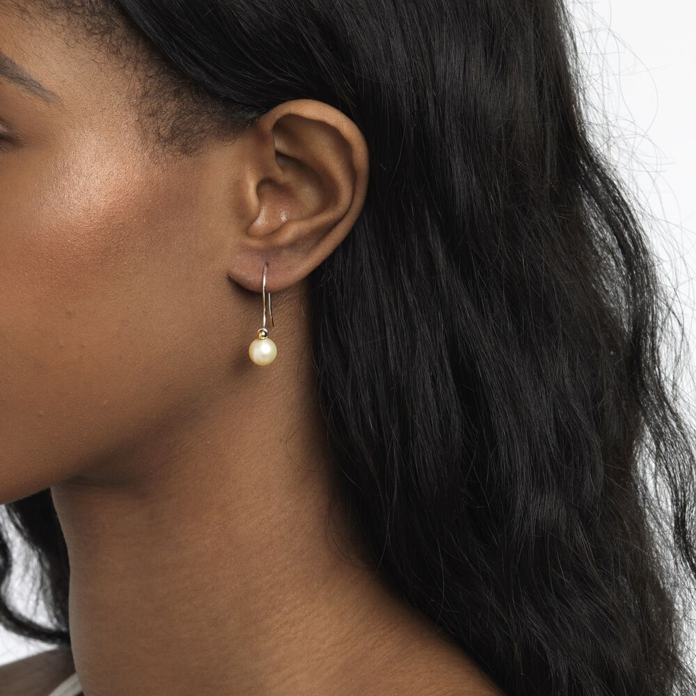 White Pearl Round Earring Drops