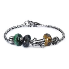 This is an image of the product Sterling Silver Bracelet with Gemstones and Sterling Silver Beads and Lock