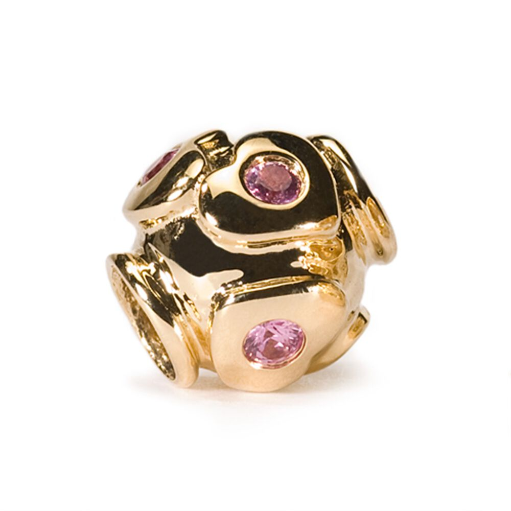 Heart with Precious Stones, Pink Sapphires Bead