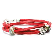 Leather Bracelet Red/Silver, 45 cm / 17.7 in