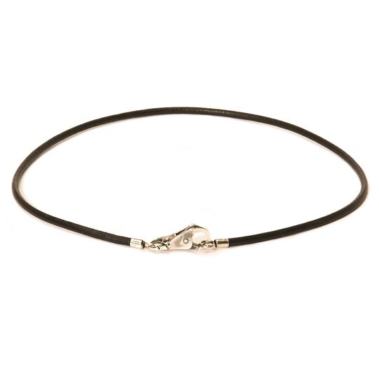 Leather Necklace, Black, with Plain Lock