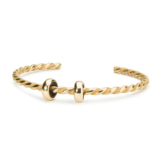 Twisted Gold Plated Bangle with 2 x Gold Spacers