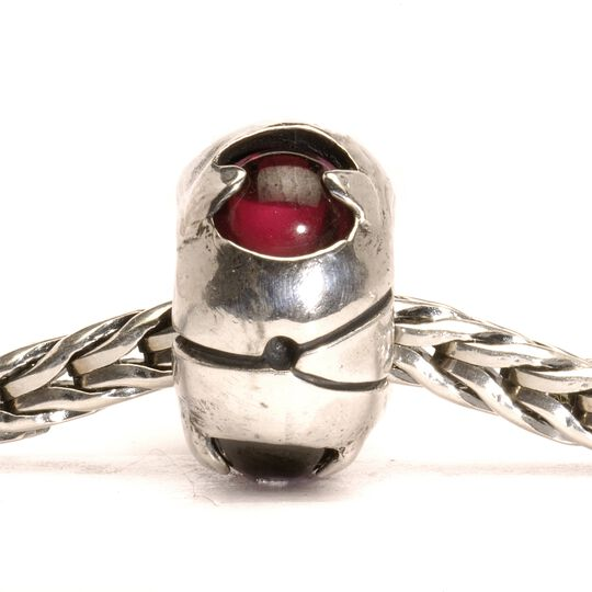 Silver Bead with Garnets