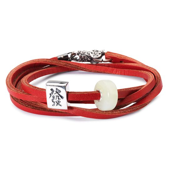 Leather Bracelet Cherry/Sage Green