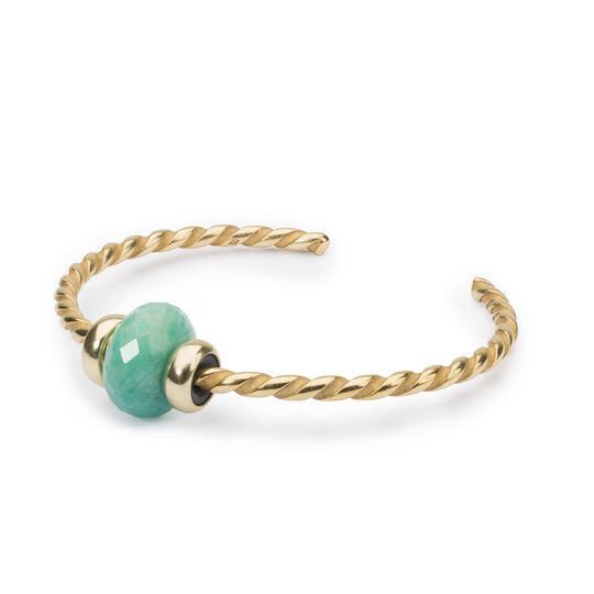 Twisted Gold Bangle with Amazonite