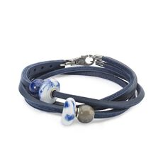 Brush of Blue Leather Bracelet