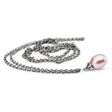 This is an image of the product Collana d'Argento con Perla Rosa