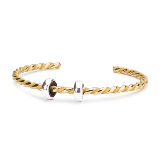 Twisted Gold Plated Bangle with 2 x Silver Spacers