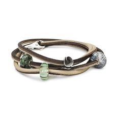Leather Bracelet Brown/Light Grey with Gemstones, Glass and Sterling Silver