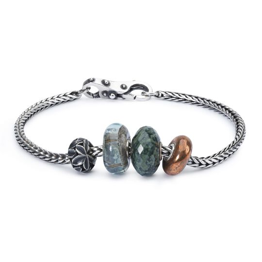Sterling Silver Bracelet With Gemstones Copper And Bead