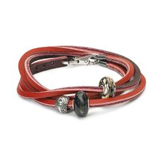 Leather Bracelet Red/Bordeaux with Gemstones and Sterling Silver Beads
