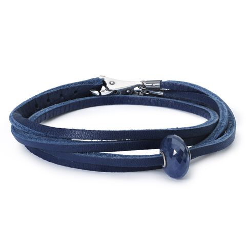 Leather Bracelet Blue with Sapphire Bead and Sterling Silver Plain Lock