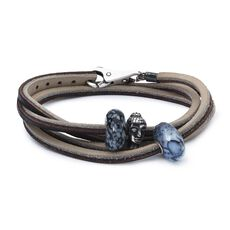 Leather Bracelet Brown/Light Grey with Gemstones and Sterling Silver Bead