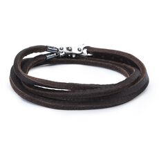 This is an image of the product Leather Bracelet Brown with Sterling Silver Lock of Wisdom