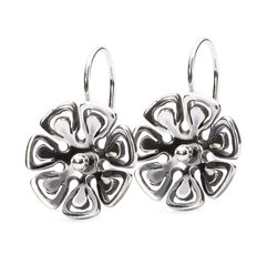 Graphic Flower Earrings with Silver Earring Hooks