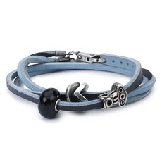 Leather Bracelet Light Blue/Dark Grey with Black Onyx and Sterling Silver Beads