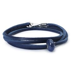 This is an image of the product Leather Bracelet Blue with Sapphire Bead and Sterling Silver Plain Lock