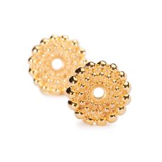 Sun Circle Earrings, Small, Gold Plated
