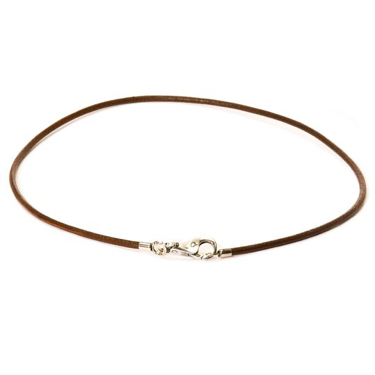 Leather Necklace, Brown, with Plain Lock