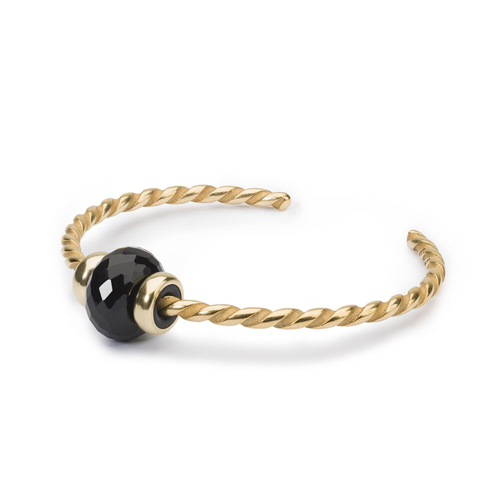 Twisted Gold Bangle with Black Onyx