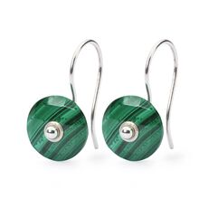 Malachite Earrings with Silver Earring Hooks