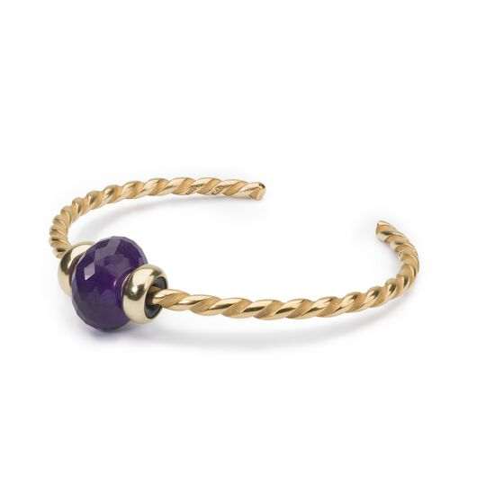 Twisted Gold Bangle with Amethyst