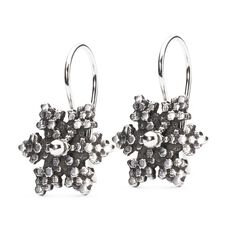 Snow Star Earrings with Silver Earring Hooks