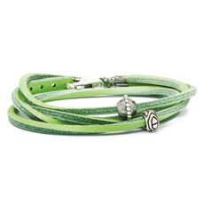 This is an image of the product Pulsera de Cuero Verde