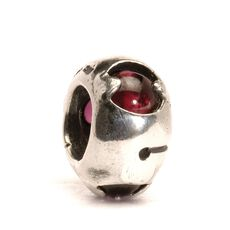 This is an image of the product Silver Bead with Garnets
