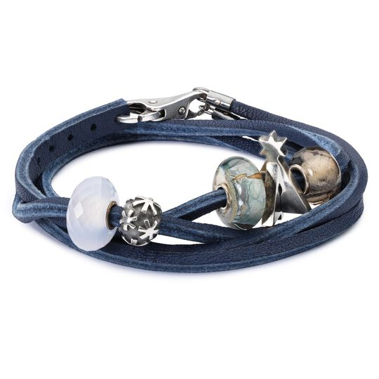 Leather Bracelet Blue/Silver