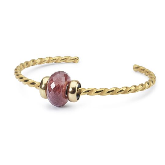 Twisted Gold Bangle with Strawberry Quartz