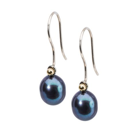 Peacock Pearl Oval Drops with Sterling Silver and Gold Hooks