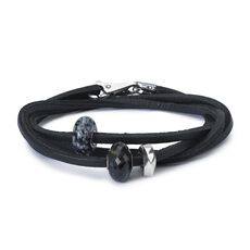 Leather Bracelet Black with Gemstones, Sterling Silver Bead and Plain Lock