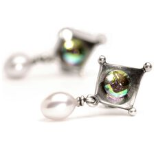 Dichroic/Pearl Stud Earrings
