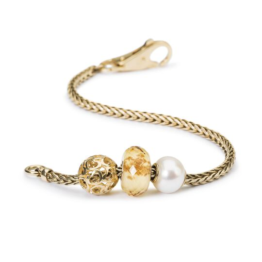 White Pearl Bead w/ Gold Core