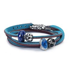 Leather Bracelet Turquoise/Plum with Gemstones and Sterling Silver Beads