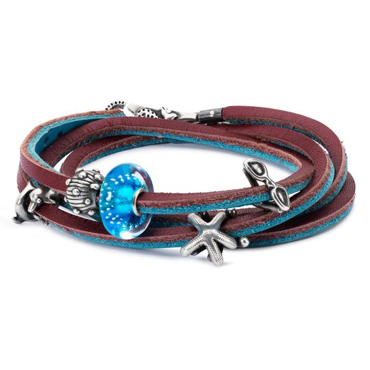 Leather Bracelet Turquoise/Plum