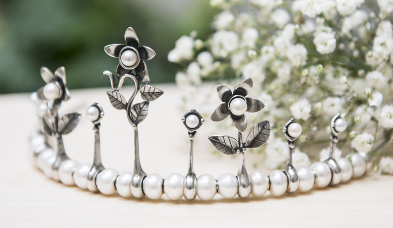 Tiara with withe pearls and sterling silver tiara flower spacers with white pearls