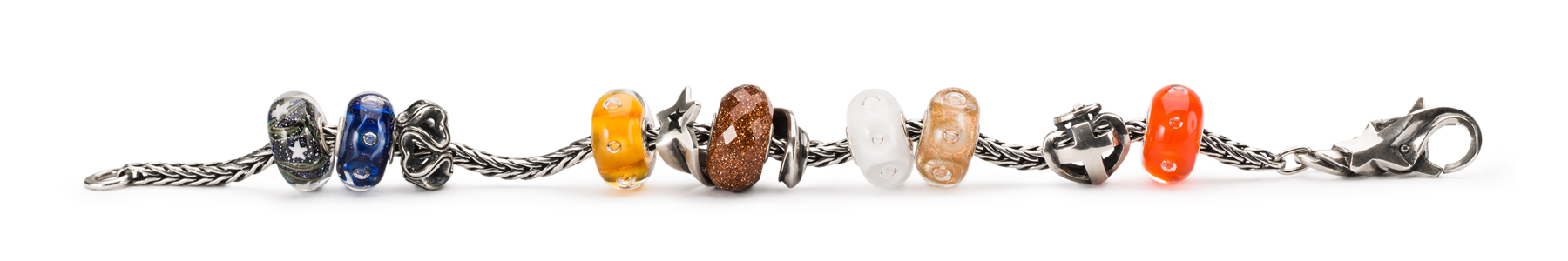 Silver bracelet adorned with the new beads from the Starlight collection